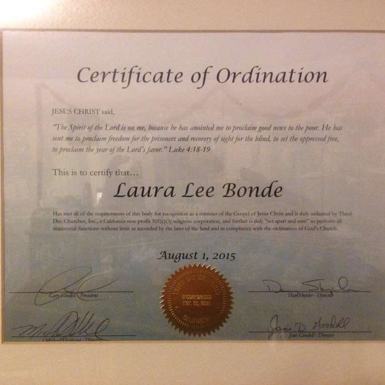 Officially Ordained on September 29, 2015 (in person)